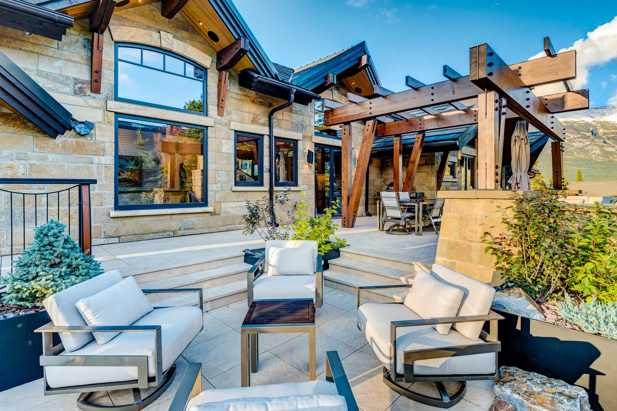 Exterior Rear Landscaping of Canmore Custom Home by Style Developments