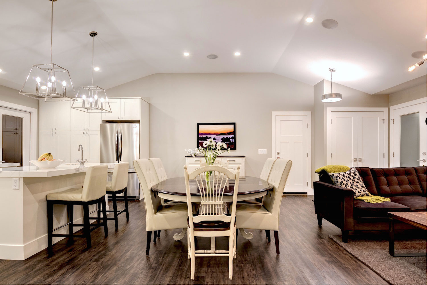 White Colour Palette Dining Room in a home renovated by Style Developments