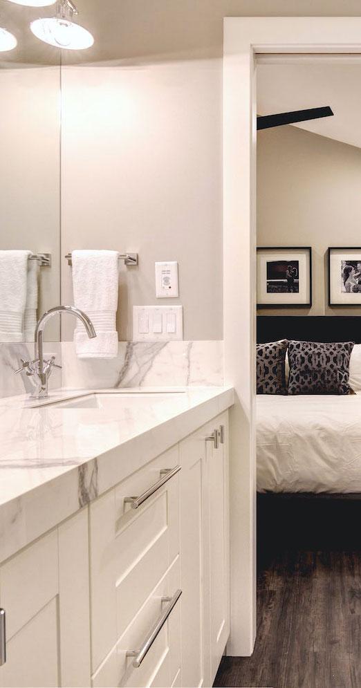 Style Developments Granite Bathroom Vanity Bathroom Renovation in a Calgary Home