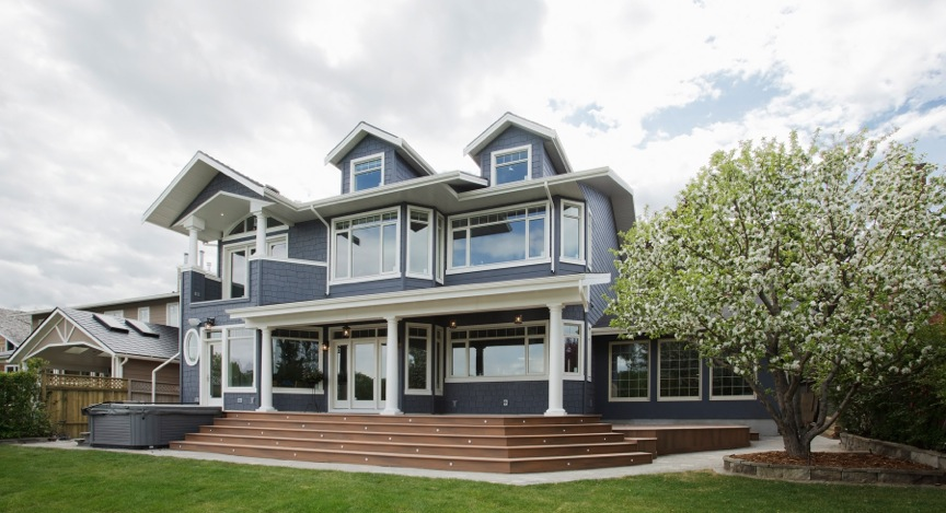 Exterior rear of a Custom Home by Style Developments in Calgary